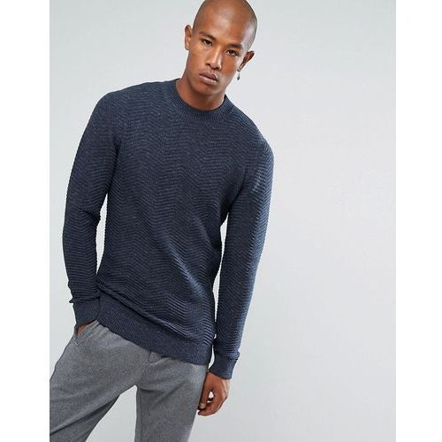 knitted hign neck jumper with texture detail in 100% cotton - navy, Selected homme