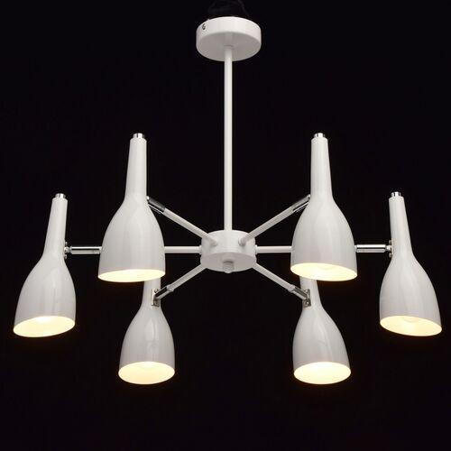 Nowoczesna lampa wisząca na 6 żarówek, biała w stylu futurystycznym DeMarkt (545012506)