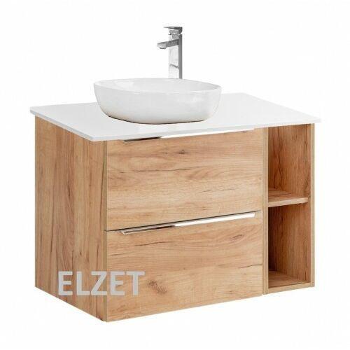 COMAD szafka Capri Oak 2S dąb craft złoty pod umywalkę nablatową + moduł otwarty + blat 80 biały połysk CAPRI OAK 820 + 810 + CAPRI WHITE 891