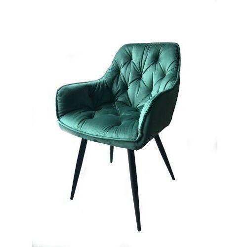 Big meble Krzesło tapicerowane welur zieleń butelkowa big berry dostawa 0zł