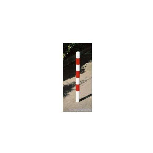 Słupek parkingowy okrągły wygrodzeniowy biało-czerwony o śr. 76 mm -