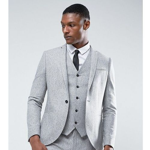 Noak TALL Skinny Suit Jacket in Fleck Donegal - Grey, kolor szary