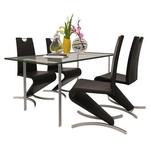 Krzesła wspornikowe do jadalni, 4 szt., sztuczna skóra, czarne marki Vidaxl