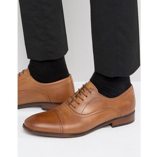 toe cap oxford shoes in tan leather - tan, Red tape