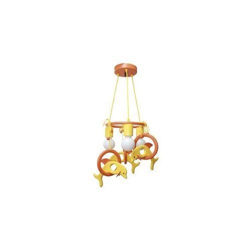 Lampa wisząca DELFIN pomarańczowa/ żółta/ drewno