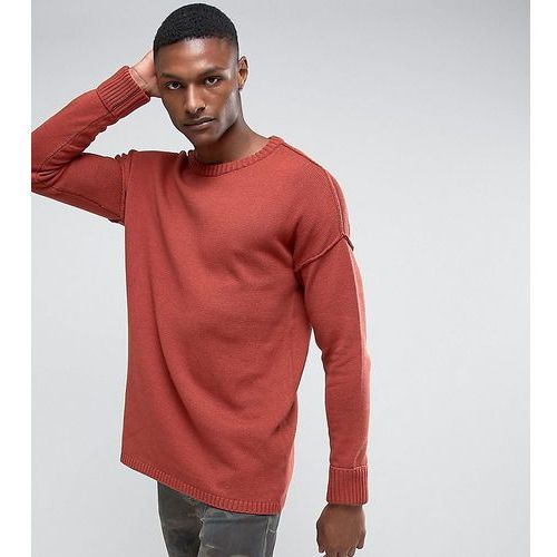 Another influence tall drop shoulder knitted jumper - brown