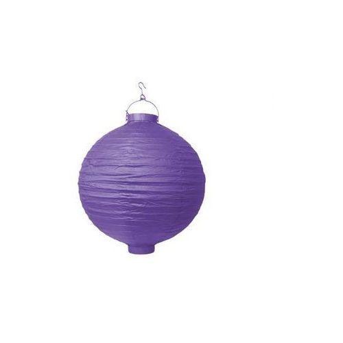 Świecący ogrodowy lampion papierowy 20 cm, fioletowy, 1 szt. marki Party deco