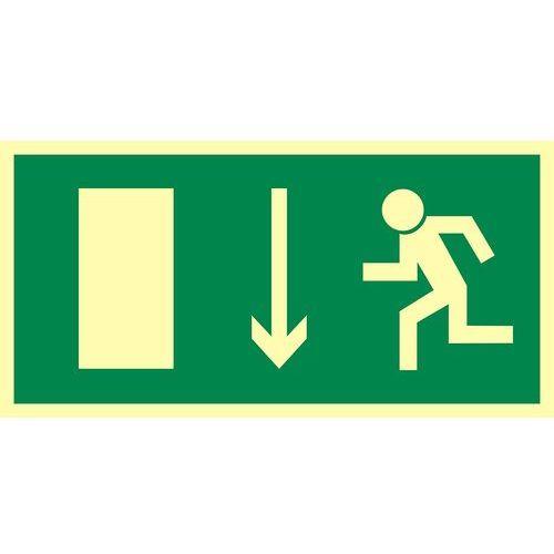Top design Kierunek do wyjścia drogi ewakuacyjnej w dół (znak uzupełniający)