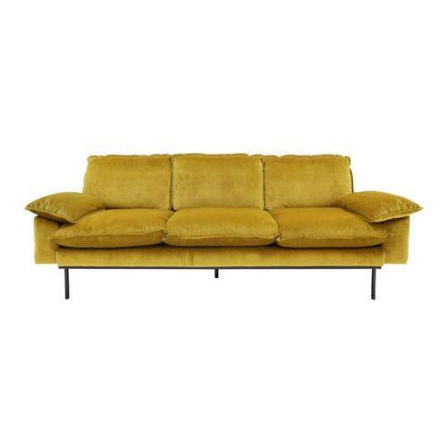 Hk living sofa trzyosobowa aksamitna w kolorze brunatno-żółtym mzm4634
