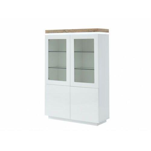 Witryna HALO II – 4 szuflady – lakierowany MDF – oświetlenie LED – kolor biały i dębowy