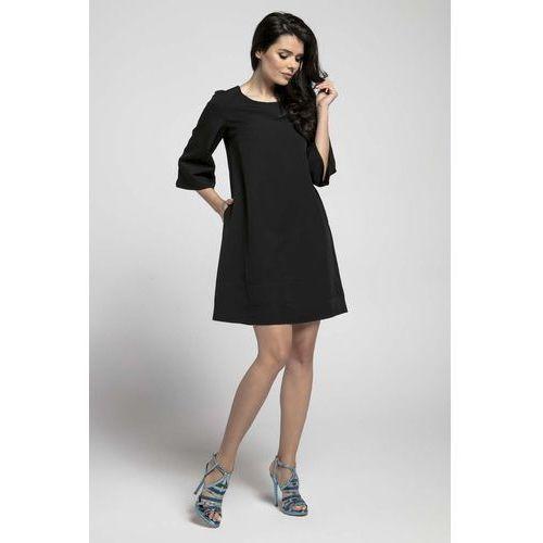 7277fbcbe7 Czarna Wizytowa Sukienka o Linii A z Przeszyciami