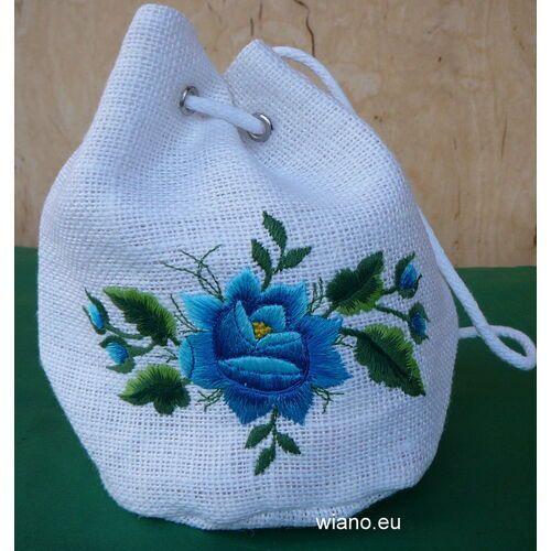 Twórczyni ludowa Torebka haftowana - łowicka róża niebieska (zcz)