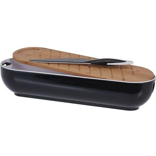 Eh excellent houseware Chlebak z deską do krojenia, bambus, 2w1 + nóż do krojenia chleba - kolor czarny