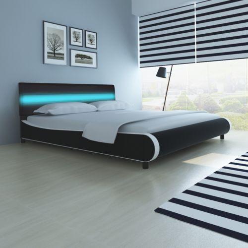 łóżko z zagłówkiem podświetleniem led 180 cm czarna eko skóra od producenta Vidaxl
