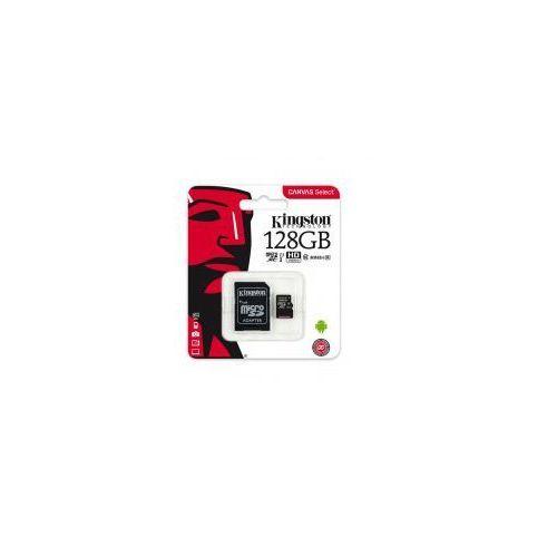 karta pamięci microsdxc 128 gb, uhs-i, klasa 10, z adapterem marki Kingston