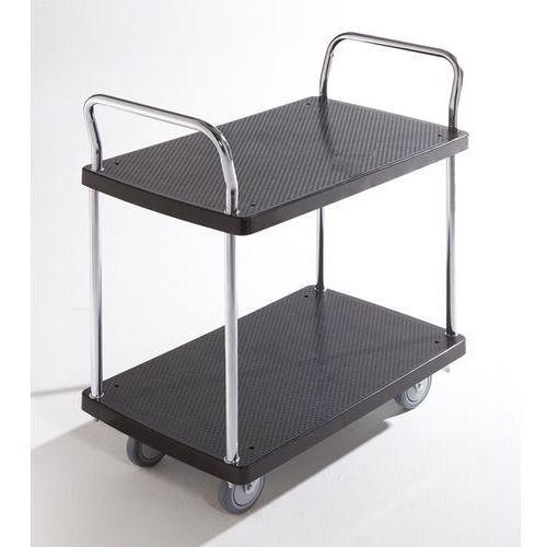Wózek serwisowy, 2 piętra, 2 pałąk, nośność 150 kg. Solidne powierzchnie ładunko