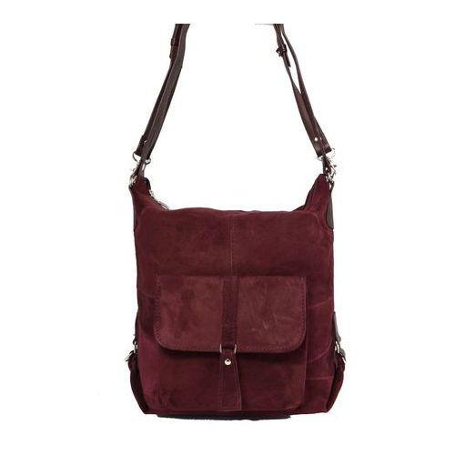 Milskór Shopper bag zamszowy 2w1 bordowy