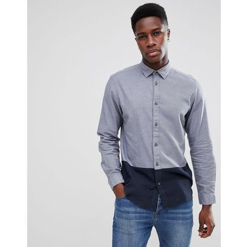Selected Homme Regular Shirt In Cut & Sew With Contrast Buttons - Navy, kolor szary