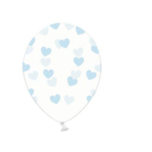 Twojestroje.pl Balon lateks przezroczysty serduszka błękit 30 cm 1 szt. (5902230798151)