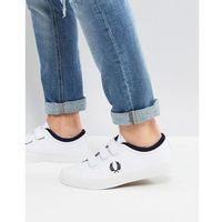 Fred perry kendrick cross strap canvas plimsolls in white - white
