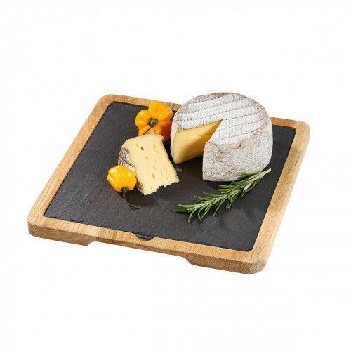 Cilio Formaggio talerz do serwowania sera z dębową podkładką, łupek (4017166296730)