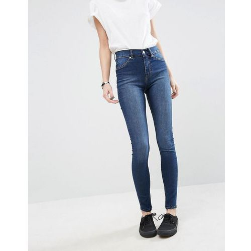 spray on high waist organic cotton skinny jeans - blue marki Cheap monday