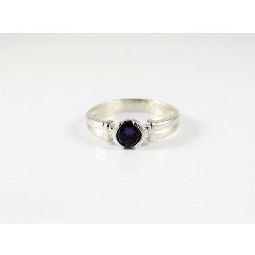 Srebrny pierścionek 925 FIOLETOWE OCZKO r. 16, kolor fioletowy