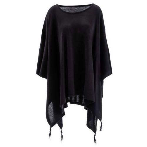 Sweter poncho z dłuższymi bokami bonprix czarny, kolor czarny