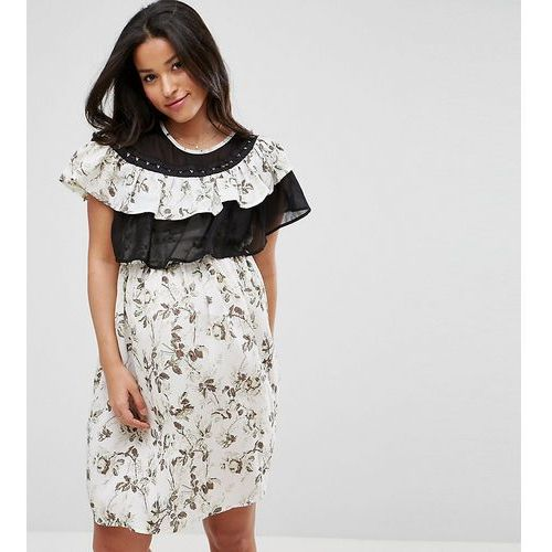floral dress with ruffles and hook and eye trim - multi marki Asos maternity