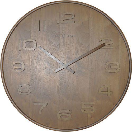 Zegar ścienny Wood Wood Nextime 35 cm, brązowy (3096 BR) (8717713014218)