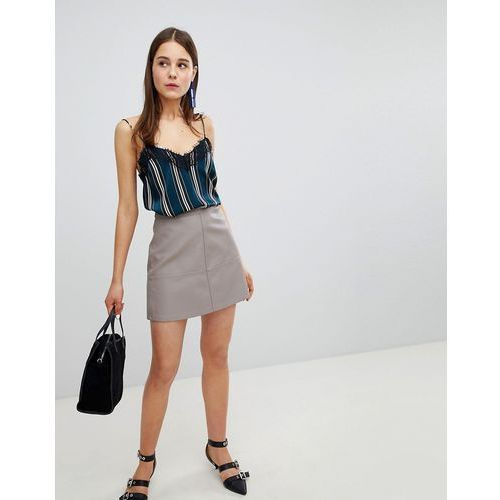 leather look mini skirt - grey, New look