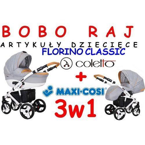 WÓZEK GŁEBOKO-SPACEROWY FIRMY COLETTO MODEL FLORINO CLASSIC 3w1 fotelik Maxi Cosi model PEBBLE