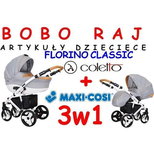 WÓZEK GŁEBOKO-SPACEROWY FIRMY COLETTO MODEL FLORINO COLETTO + fotelik Maxi Cosi model CITI