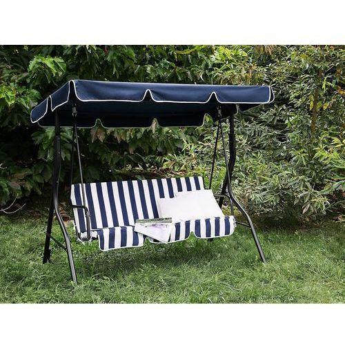 Huśtawka niebiesko-biała - meble ogrodowe - stal - ławka - chaplin marki Beliani