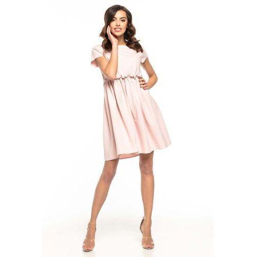 f7902c9982 Pudrowa lekka zwiewna sukienka z mini rękawkiem marki Tessita