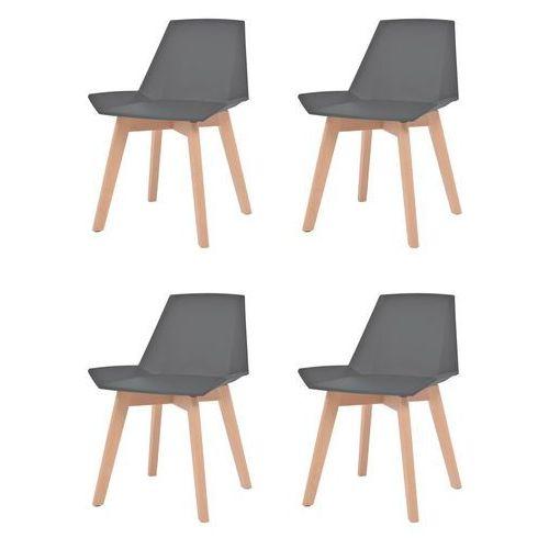 Vidaxl komplet 4 krzeseł, drewniane nogi i szare, plastikowe siedziska (8718475564928)
