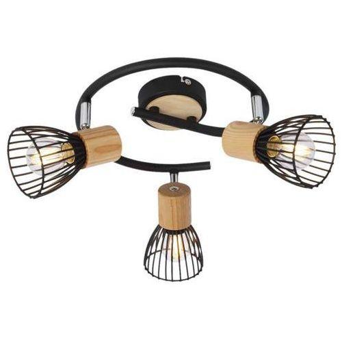 Plafon LAMPA sufitowa ANTICA 98-60952 Candellux reflektorowa OPRAWA okrągła SPOT druciany loft drewno czarny barnham, 98-60952