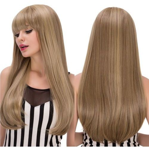 Silky straight tail adduction long mixed color full bang synthetic wig od producenta Sammydress