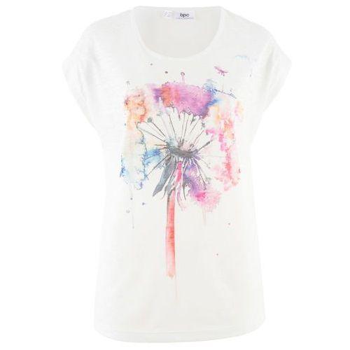Shirt, długi rękaw jasnoszary melanż z nadrukiem, Bonprix, 44-50