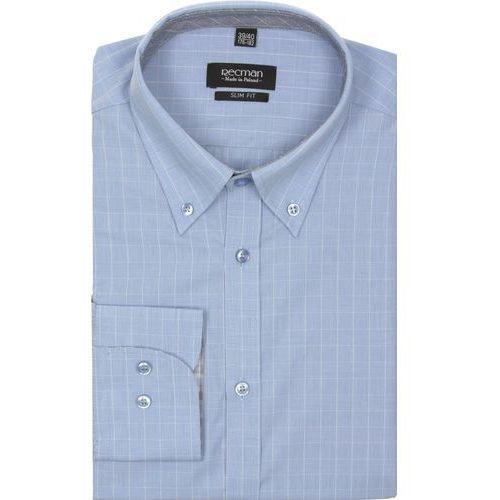 Koszula croft 2064 długi rękaw slim fit niebieski, Recman