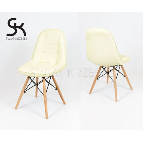 ks009 kremowe krzesło z ekoskóry na drewnianych nogach - kremowy marki Sk design