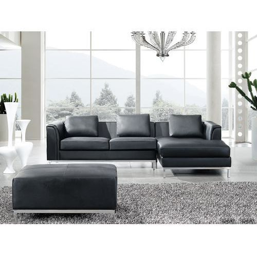 Beliani Nowoczesna sofa z pufą ze skóry naturalnej kolor czarny l - kanapa oslo, kategoria: sofy