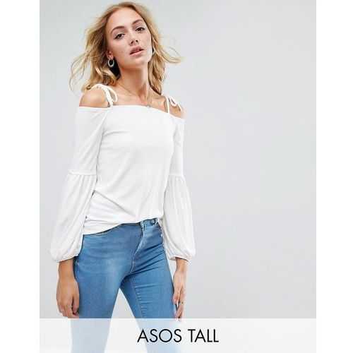 ASOS TALL Top in Crepe with Off Shoulder and Pretty Bell Sleeve - Cream