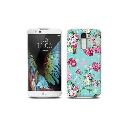 LG K10 - etui na telefon Full Body Slim Fantastic - różyczki na miętowym tle, kolor różowy