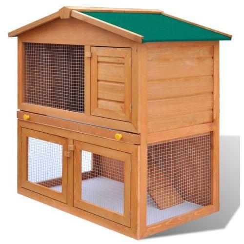 Vidaxl  drewniana klatka dla królika z 3 drzwiami, kategoria: domki i klatki dla gryzoni