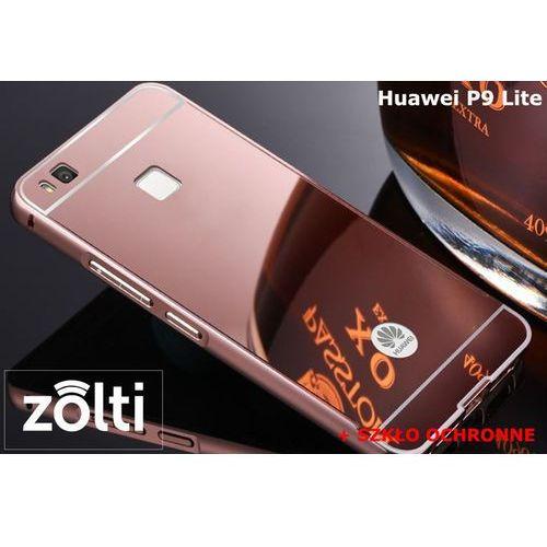Zestaw   Mirror Bumper Metal Case Różowy + Szkło ochronne Perfect Glass   Etui dla Huawei P9 Lite, kolor różowy