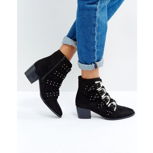 Truffle Collection Stud Buckle Strap Mid Heel Boots - Black