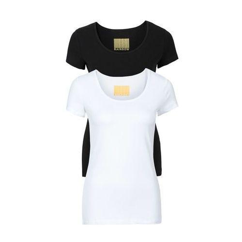 Bonprix T-shirty damskie z okrągłym dekoltem (2 szt.) biały + czarny