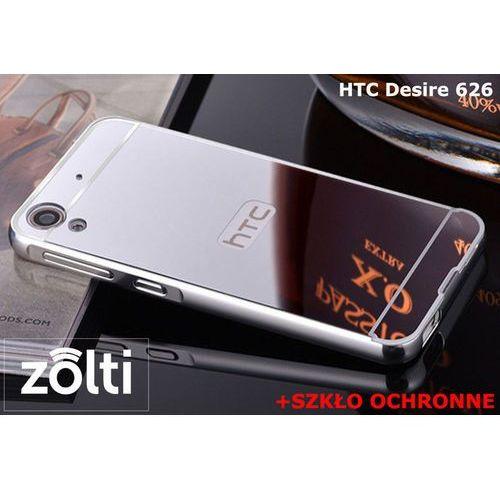 Zestaw   Mirror Bumper Metal Case Srebrny + Szkło ochronne Perfect Glass   Etui dla HTC Desire 626
