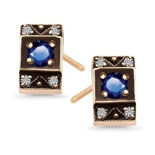 Biżuteria yes Kolekcja wiktoriańska - złote kolczyki z szafirami